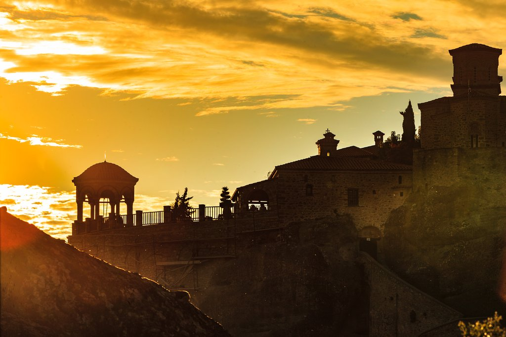 Sunset over a monastery in Meteora