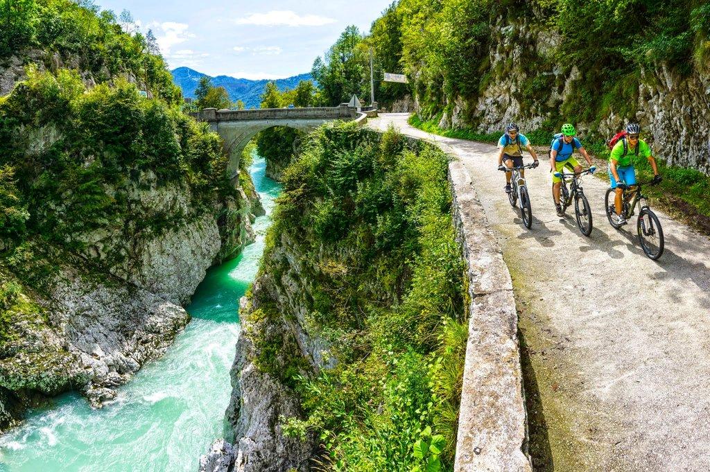 Cycling along the Soča River