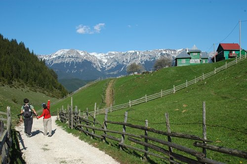 Crossing villages in the Carpathian Mountains