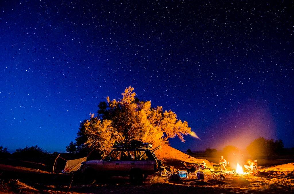 A campfire in the Moroccan Sahara