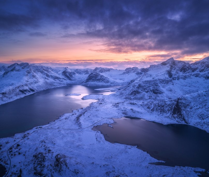 A stunning fjord sunrise above the Arctic Circle