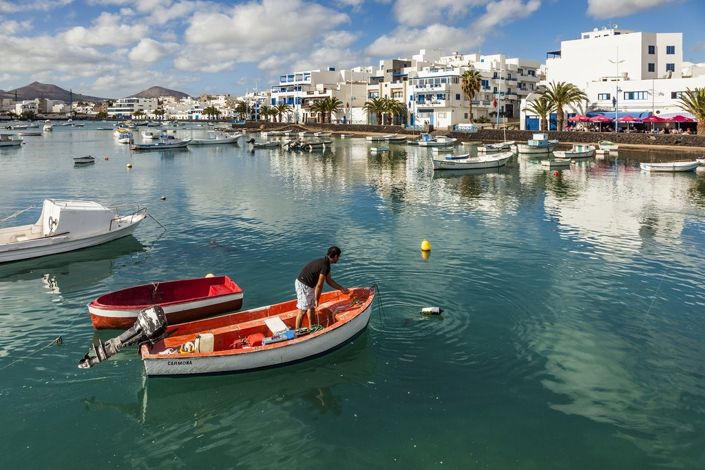 The harbor in Arrecife, Spain, remodeled by architect Caesar Manrique