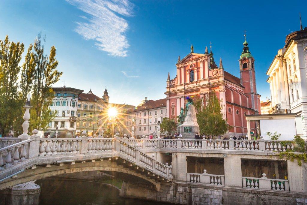 The Triple Bridge leads to Romantic Ljubljana's Prešeren Square