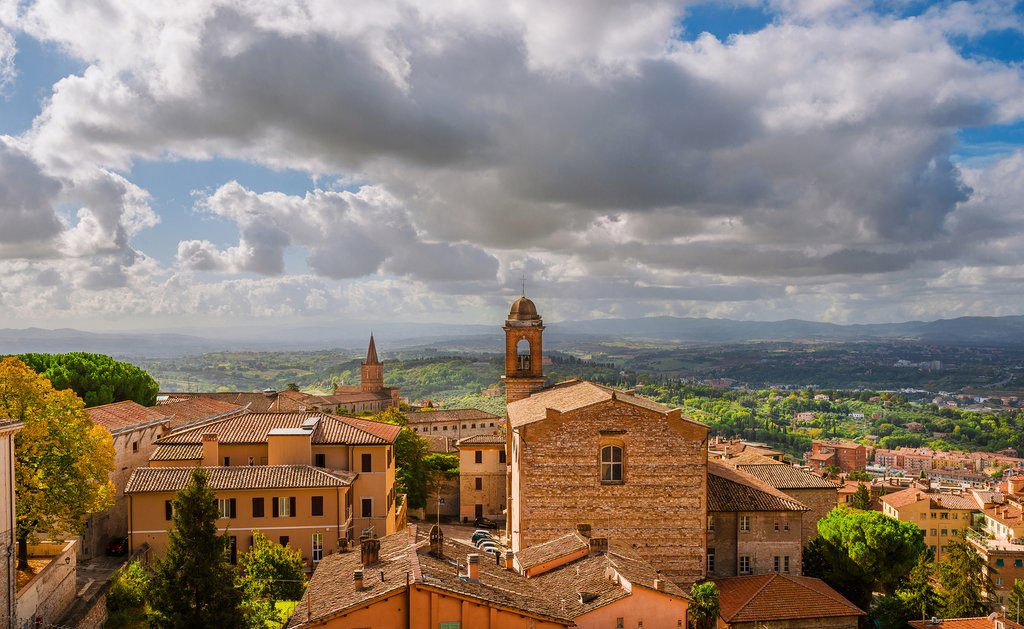 The rooftops of Perugia's medieval old town.