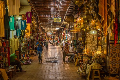 A view inside the labyrinth of souks in Marrakech