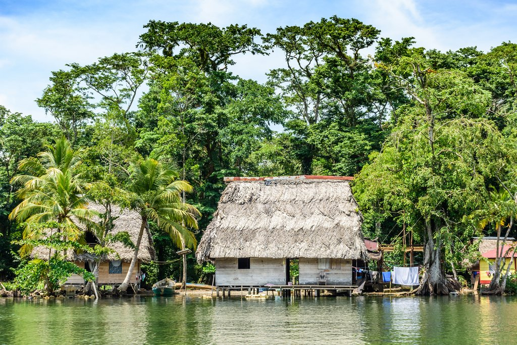 Stilted houses along the Rio Dulce