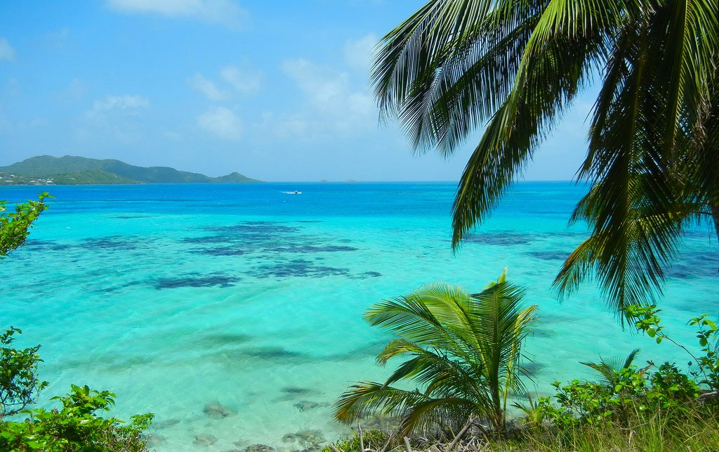 Shades of blue of the Caribbean sea