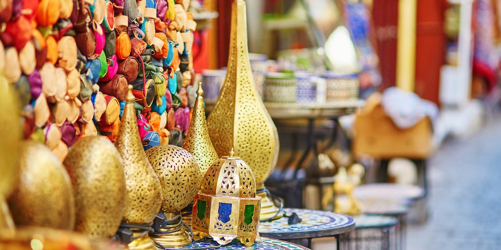 Traditional lamps for sale in Fes