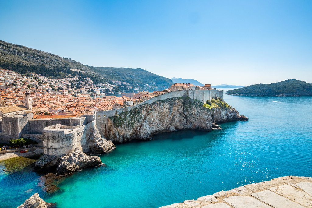 "City walls and cliffs of ""Old Town"" Dubrovnik"