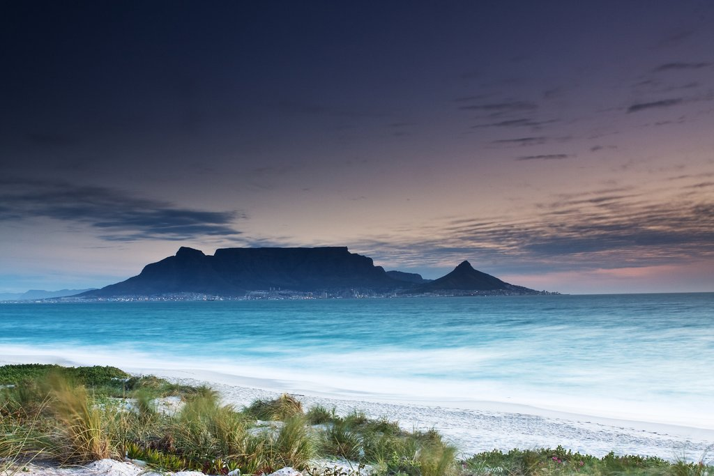 An evening view of Table Mountain in Cape Town