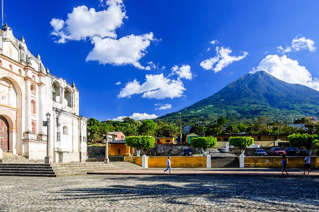 View of Agua volcano from Antigua, Guatemala