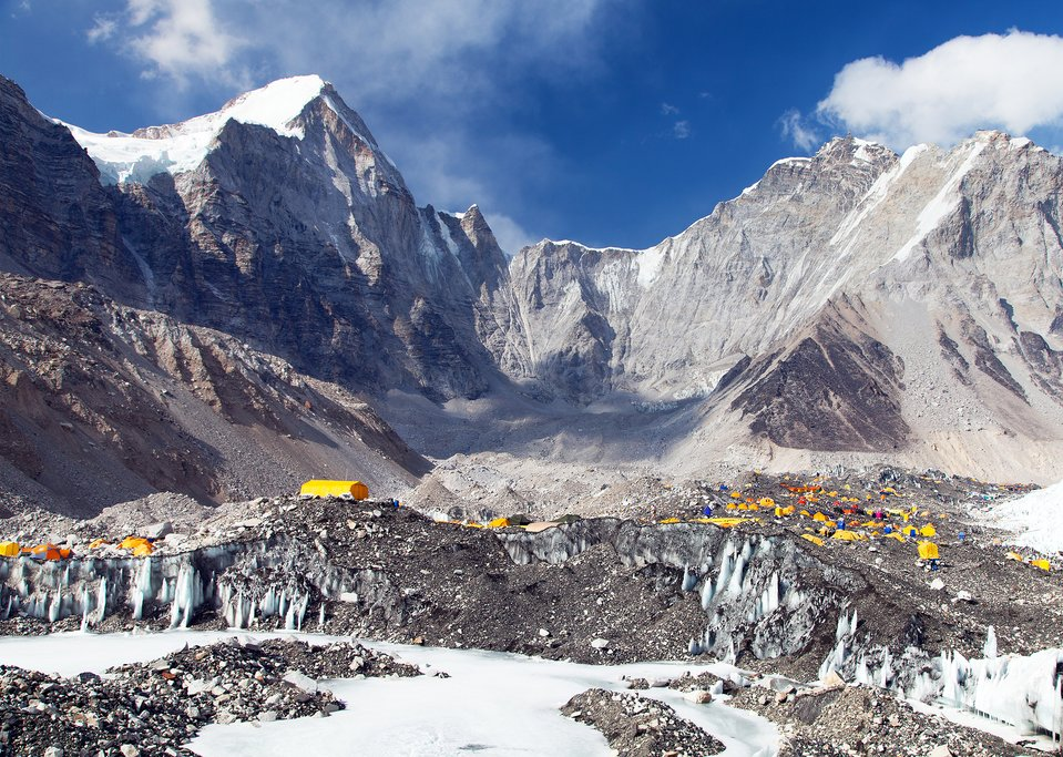 Tents crowded at the foot of Everest Base Camp
