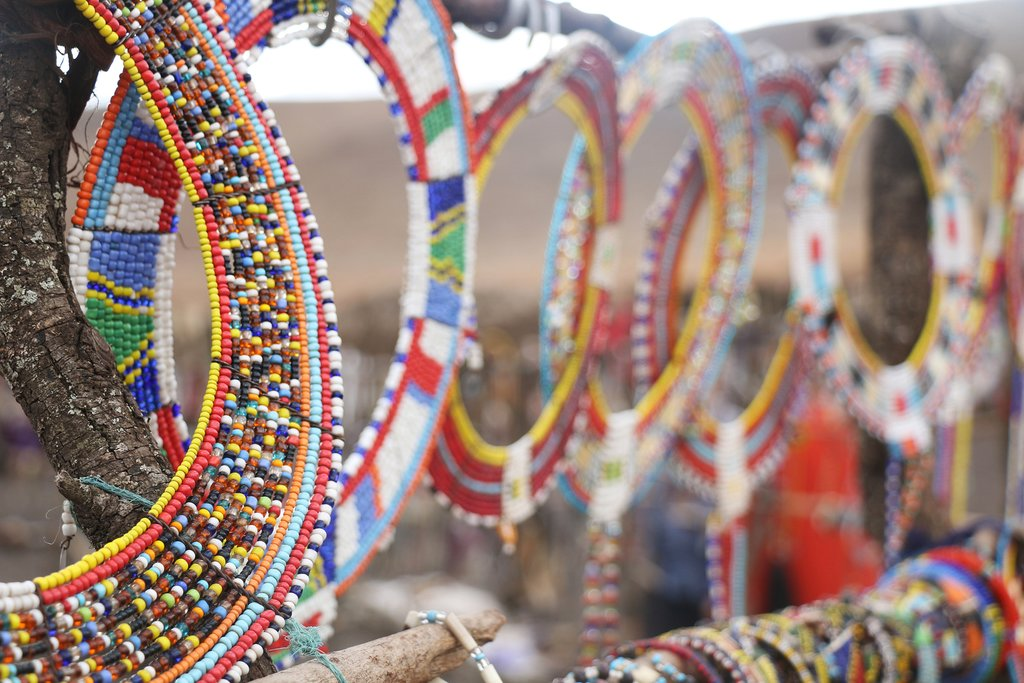 Colorful Maasai beads for sale in a marketplace
