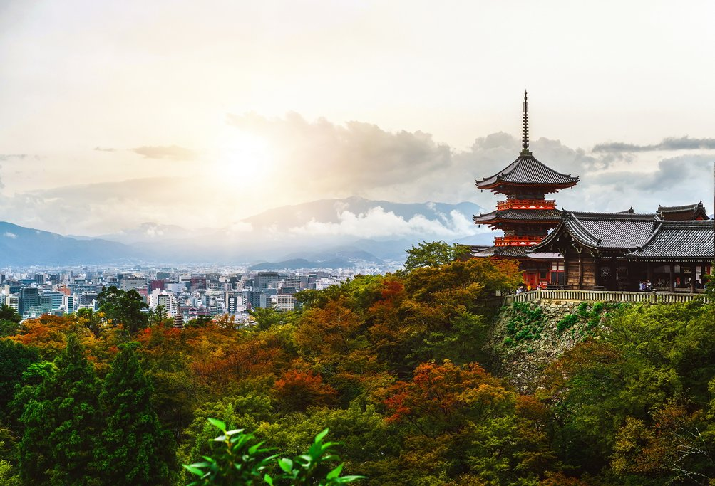 The Kiyomizu-dera temple overlooking Kyoto's skyline.