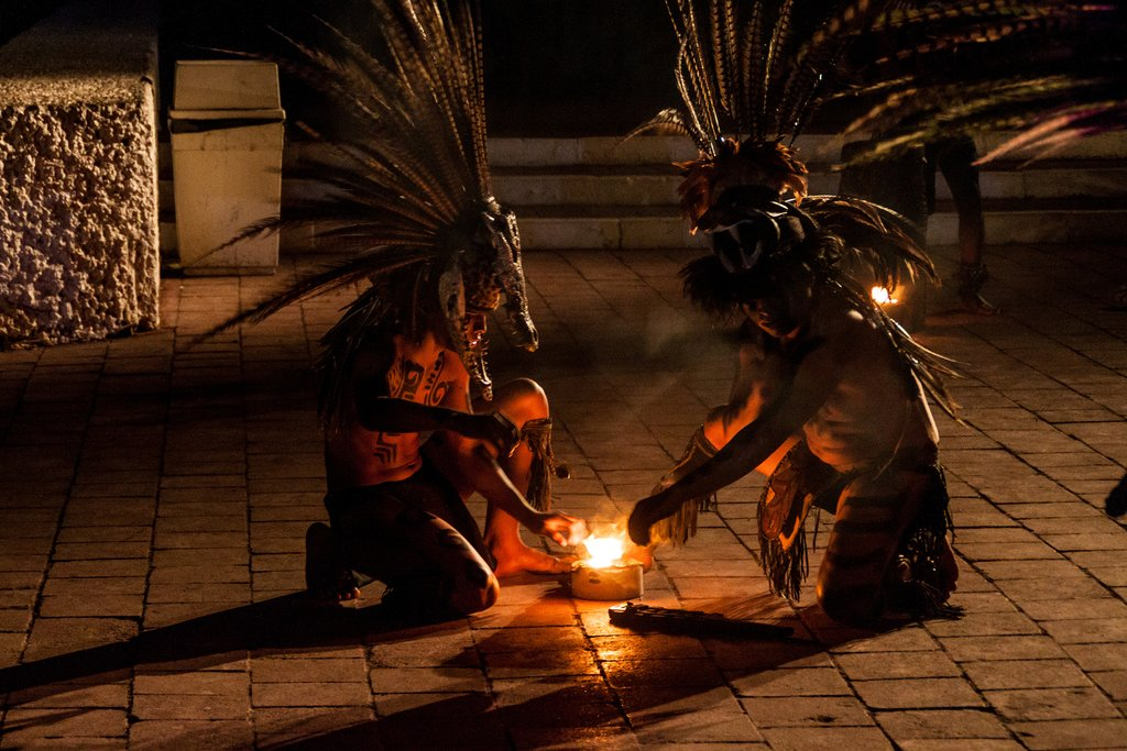 Native Mayan dance performance at Chichen Itza, Mexico