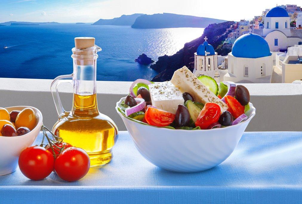 Olive oil and Greek salad on Santorini