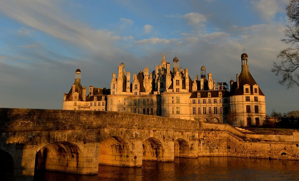 Sunset on Chambord castle in Loire Valley