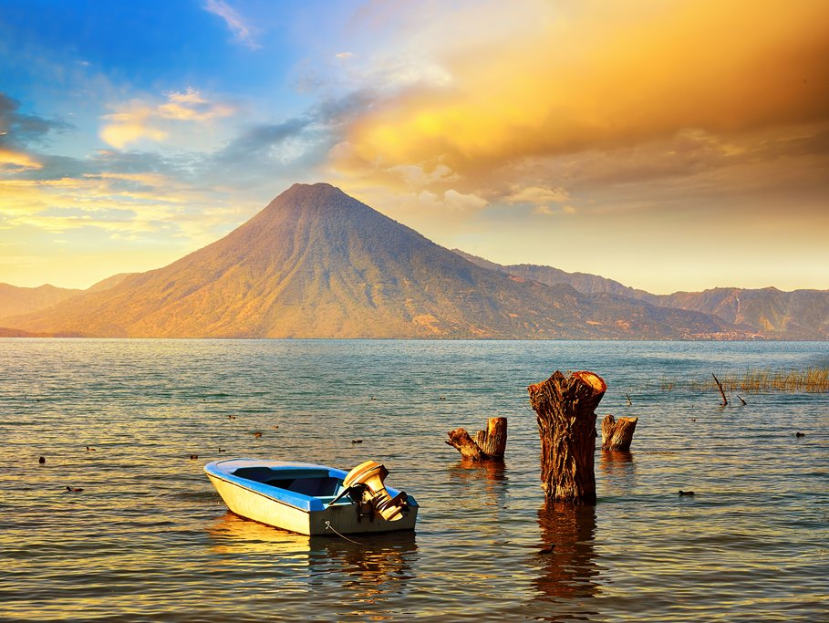 Romantic sunset over Lake Atitlán