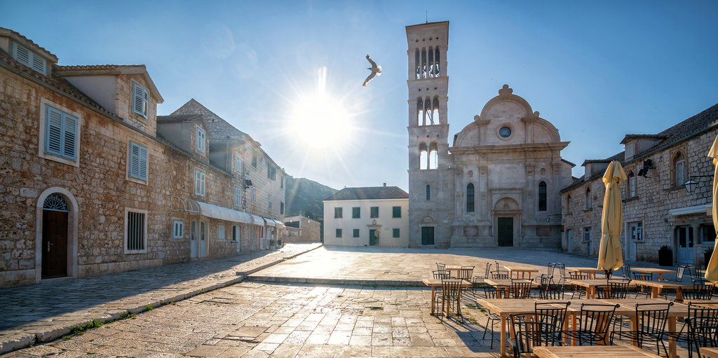The Cathedral of St. Stephen in historic Hvar Town