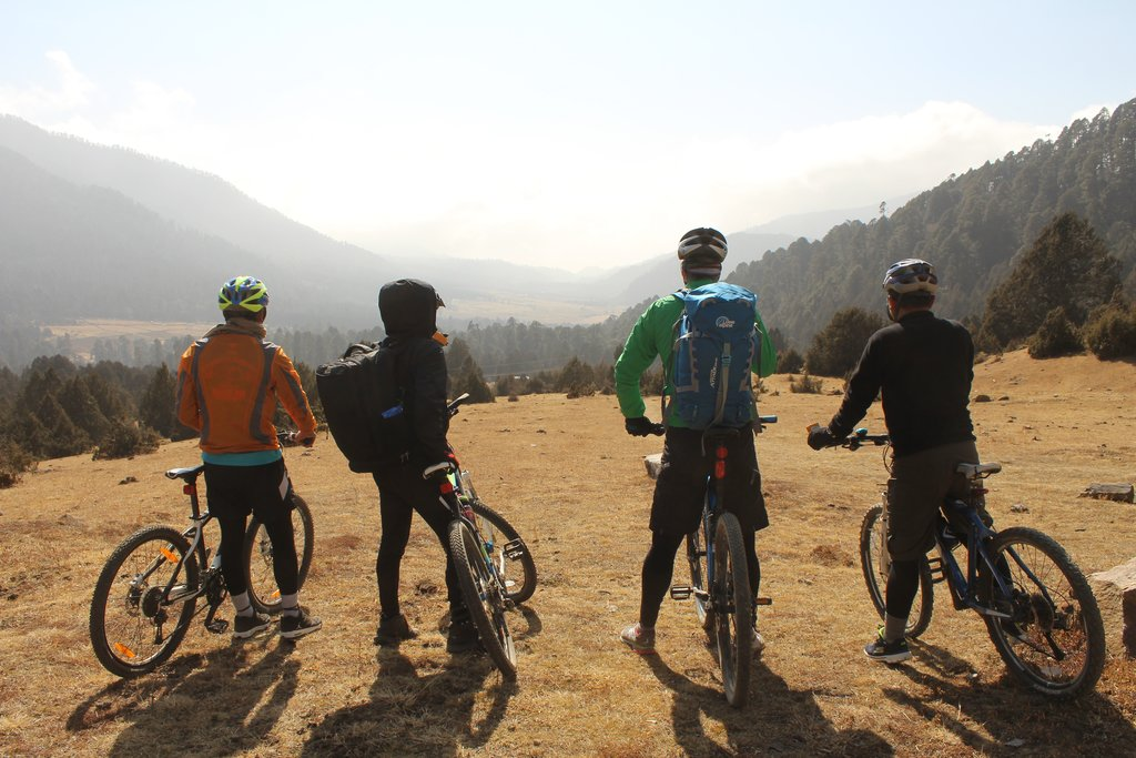 bikers in Phobjikha Valley, Bhutan