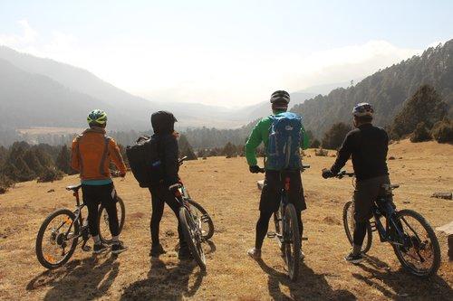bikers in Phobjikha Valley, Bhutan
