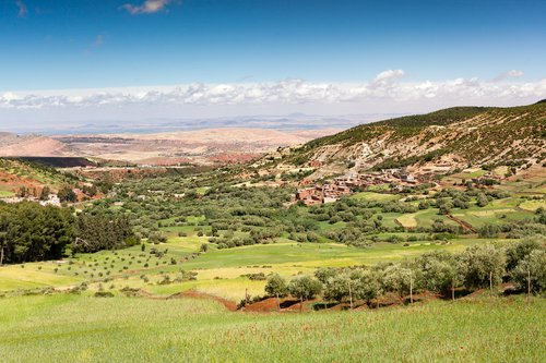 Small villages dot the foothills of the Atlas Mountains