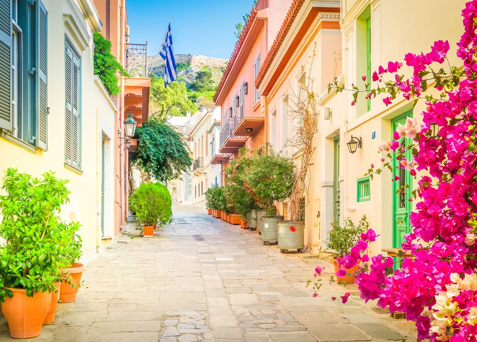 Streets of the Plaka neighborhood in the shadow of the Acropolis