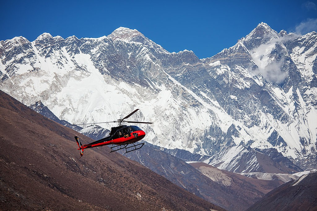 Flying by helicopter through the Everest region