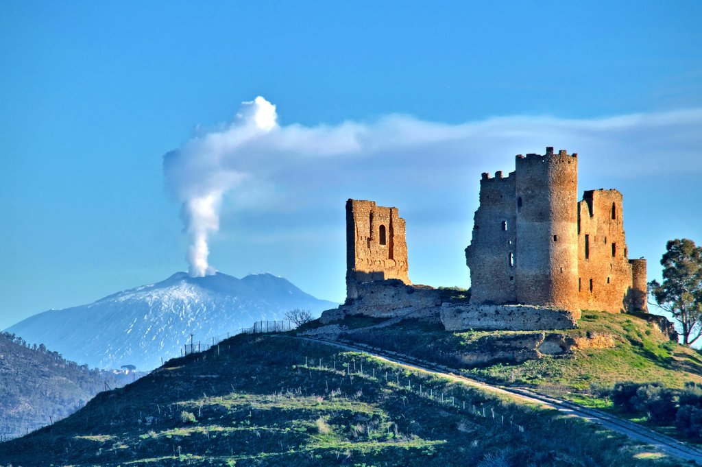 Mazzarino Medieval Castle with Mt. Etna