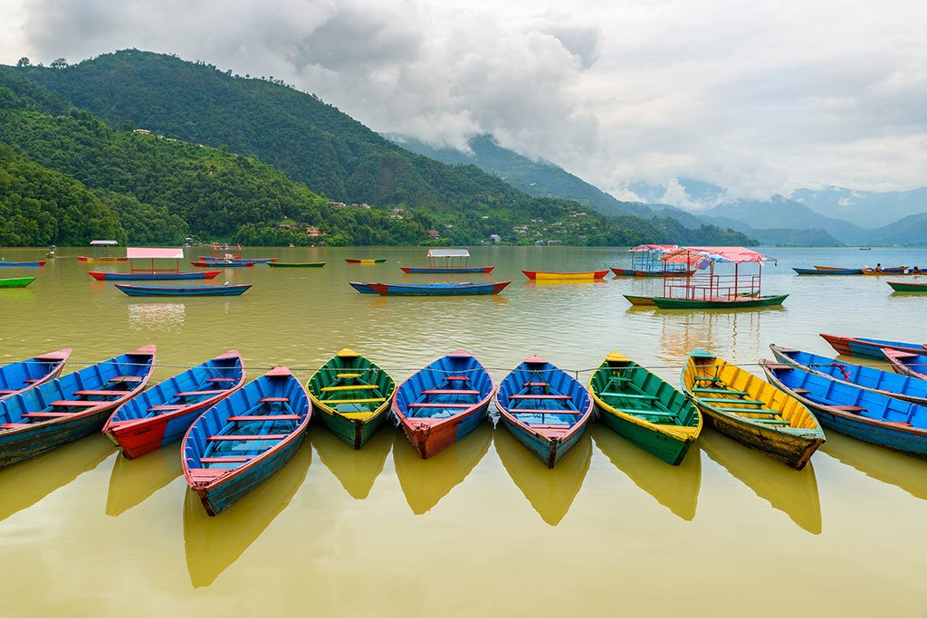 Boats along Phewa Lake, Pokhara