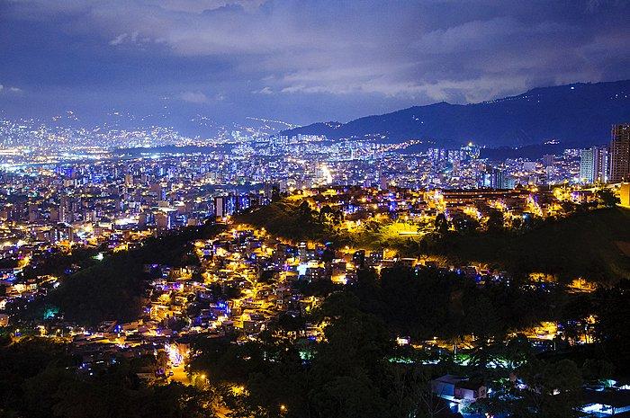 Aerial view of Medellín's skyline after dark