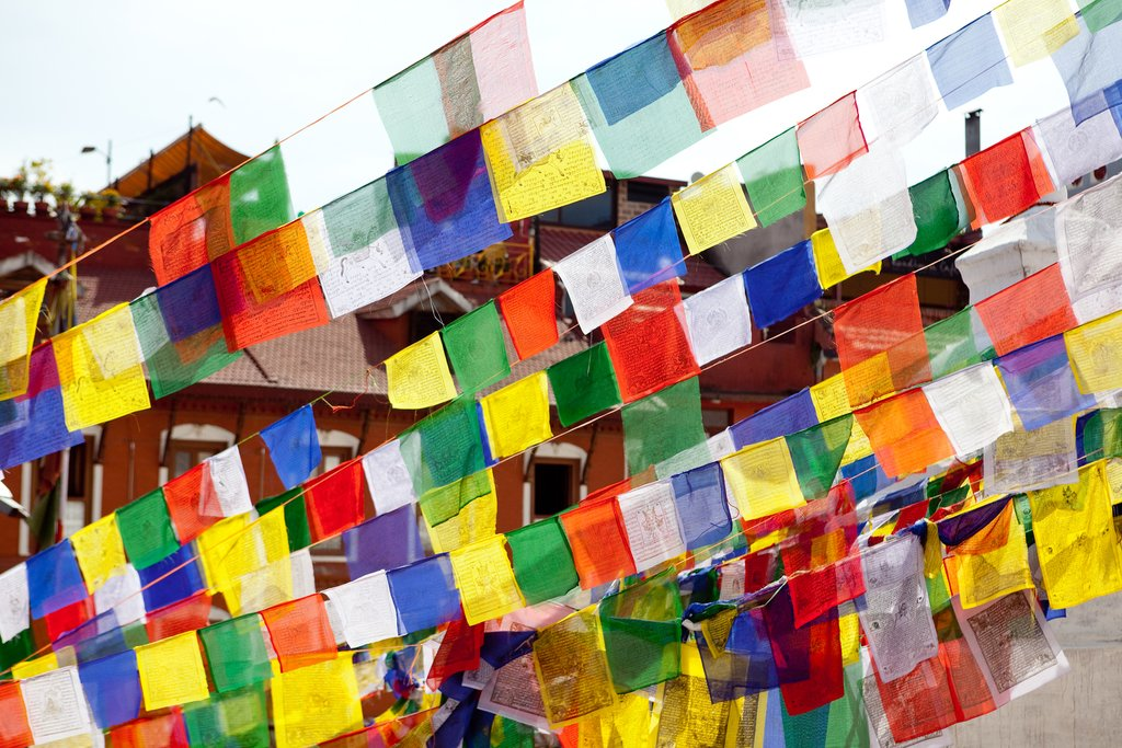 Prayer flags  waving in the Annapurna region