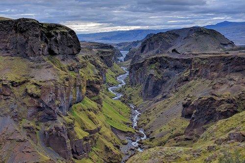 "Entering Goðaland (the ""Land of Gods"") during the descent to Thórsmörk"