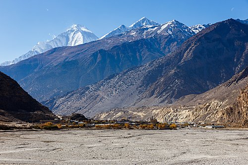 Town of Jomsom against the backdrop of Mt. Dhaulagiri