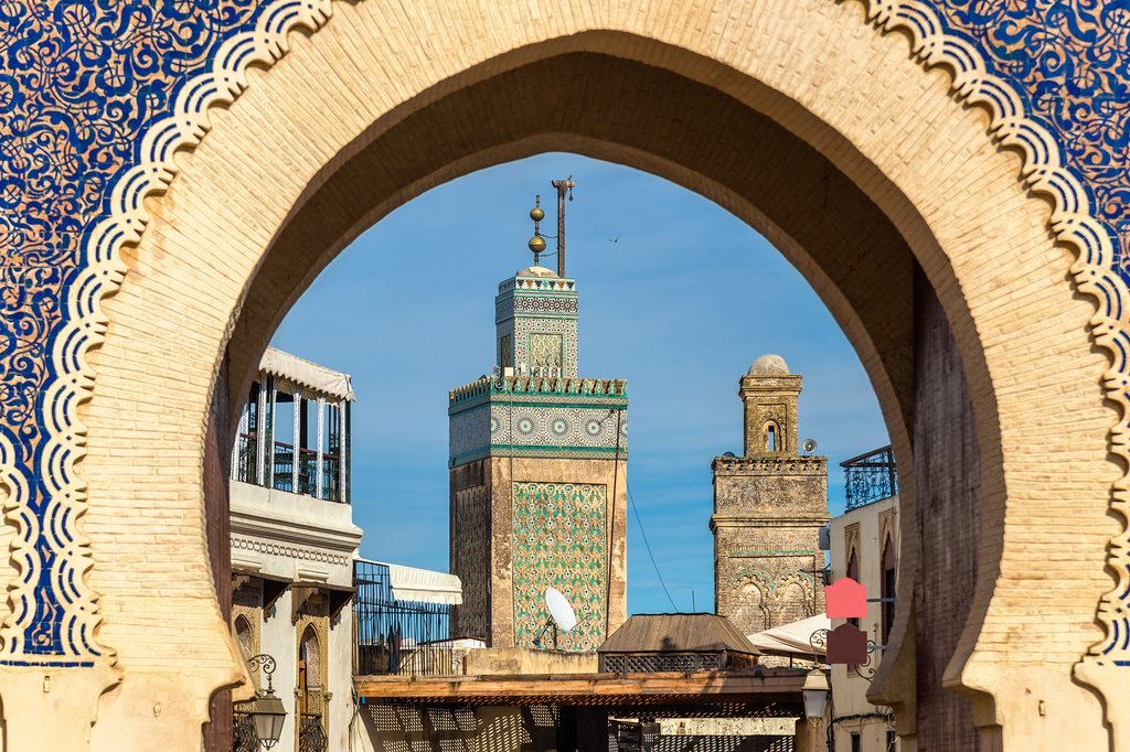 Save Download Preview Minarets of Fes seen throuth Bab Bou Jeloud Gate - Morocco