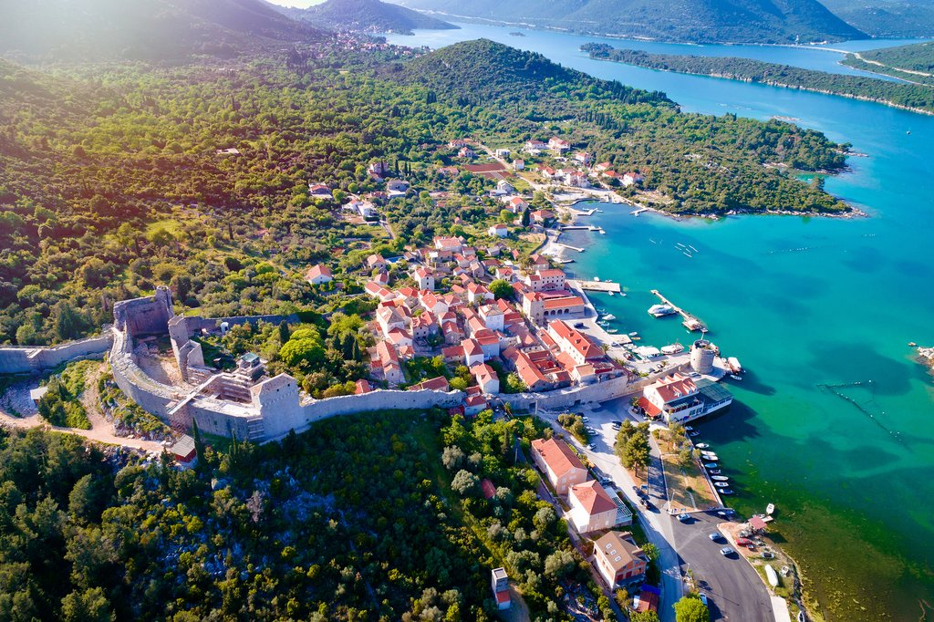 Ston's walls and waterfront on the Pelješac peninsula