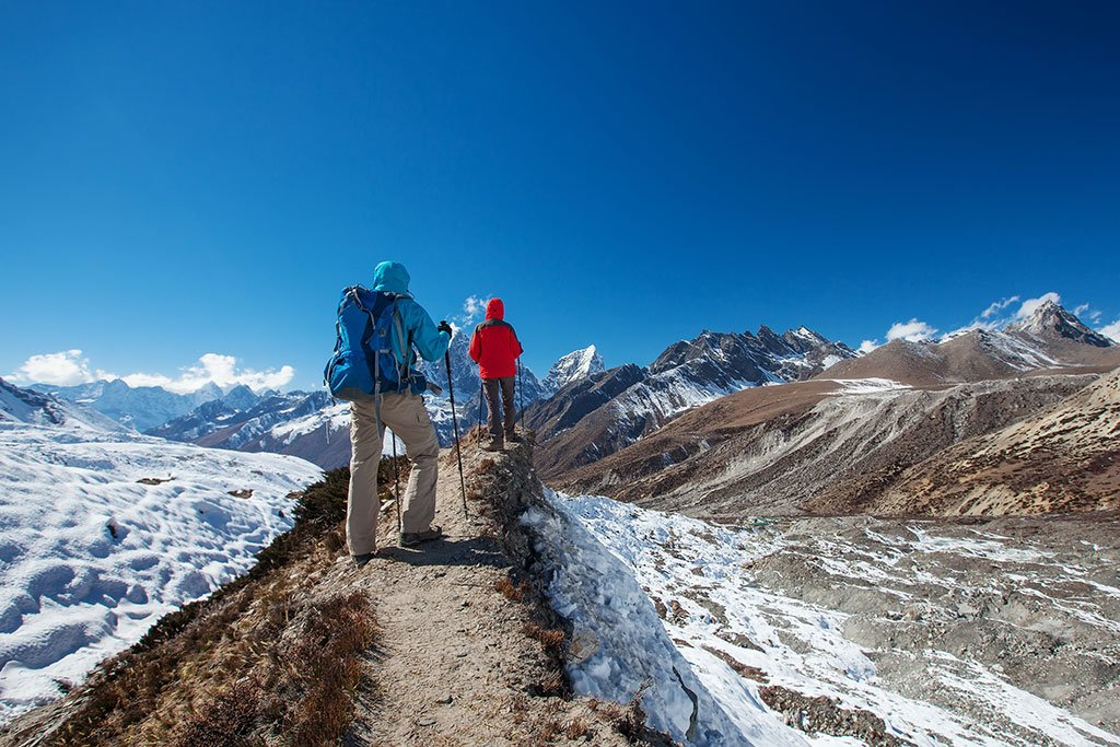 Hikers en route to Everest Base Camp in the Everest region, one of Nepal's most famous treks