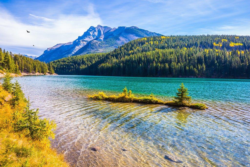 Two Jack Lake at the gulf of Lake Minnewanka in Banff National Park