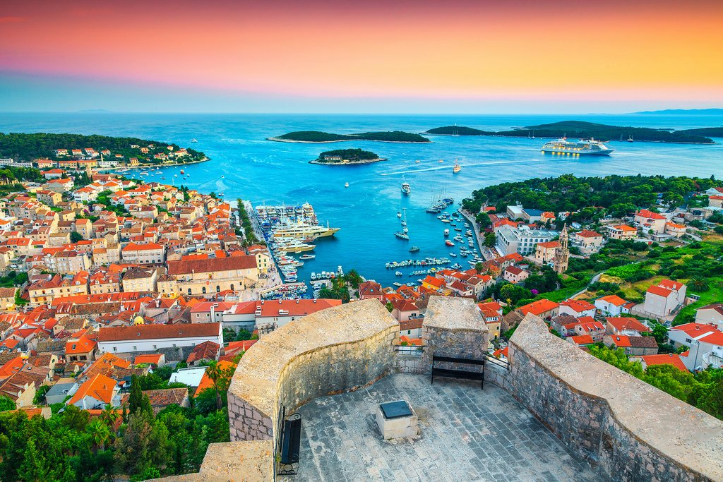 Spanjola fortress at sunset in Hvar, Croatia