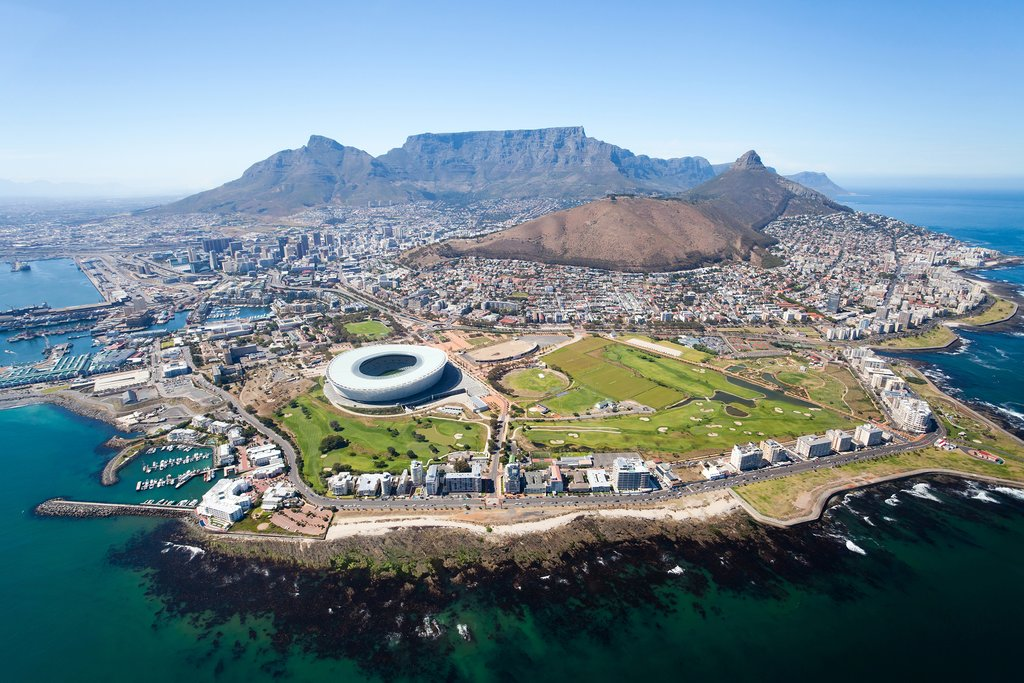 Cape Town and Table Mountain from the air