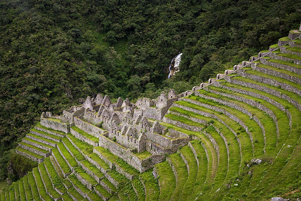The Inca ruins of Winay Wayna along the Inca Trail to Machu Picchu