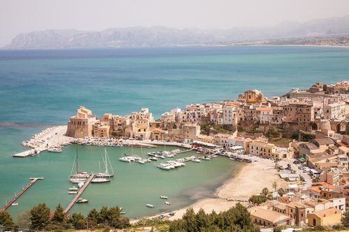 An aerial view of a harbor in the Trapani province of Sicily