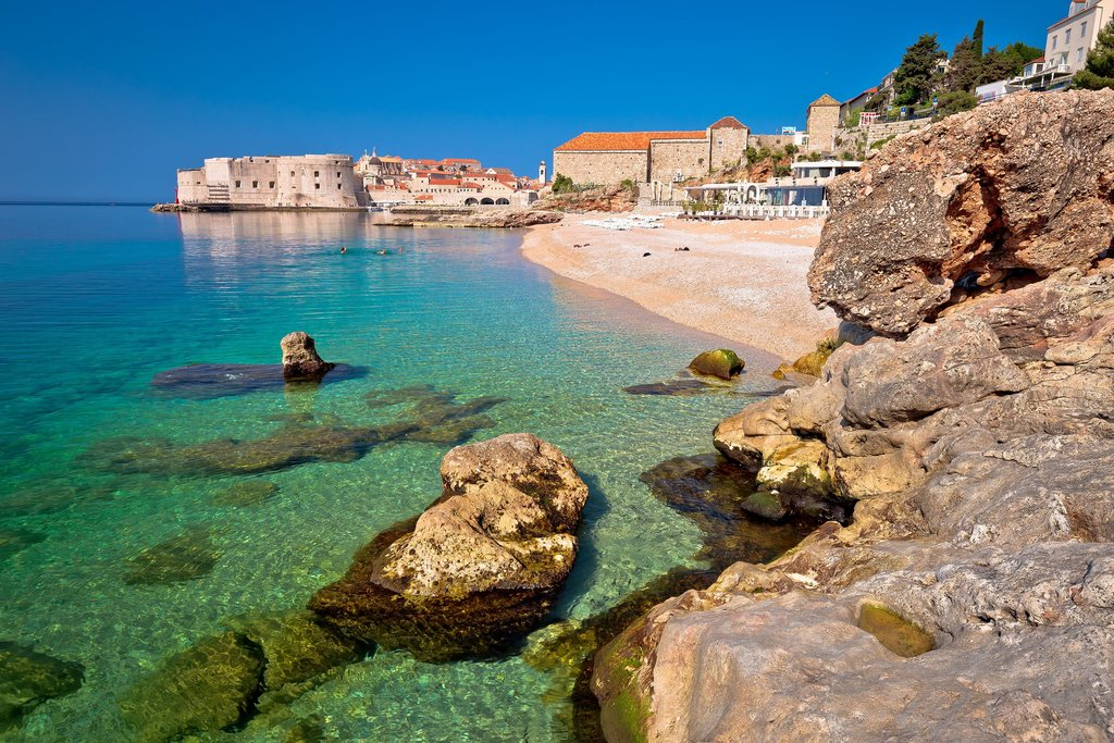 Dubrovnik's Banje Beach and fortress walls