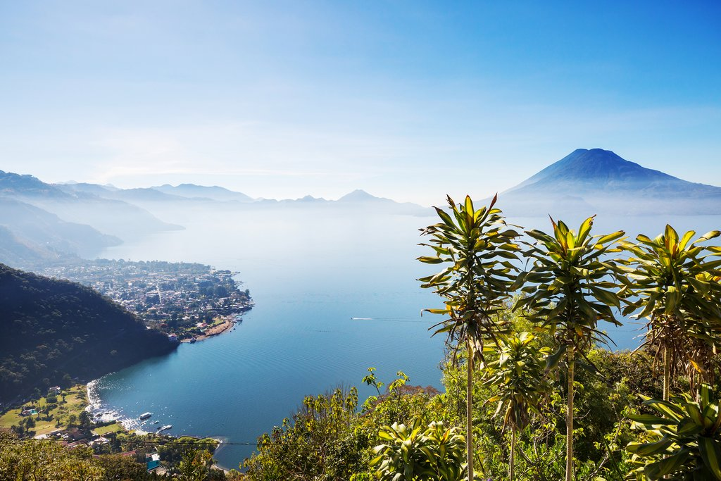 Lake Atitlan and volcanos in the highlands of Guatemala