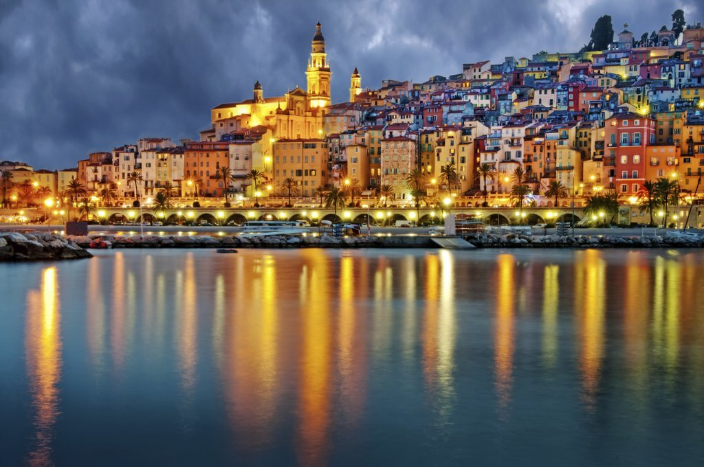 French Riviera by night