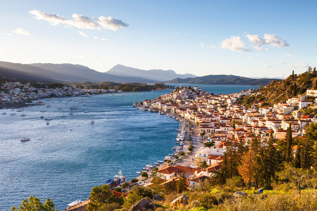 The Island of Poros and Peloponnese Mountains