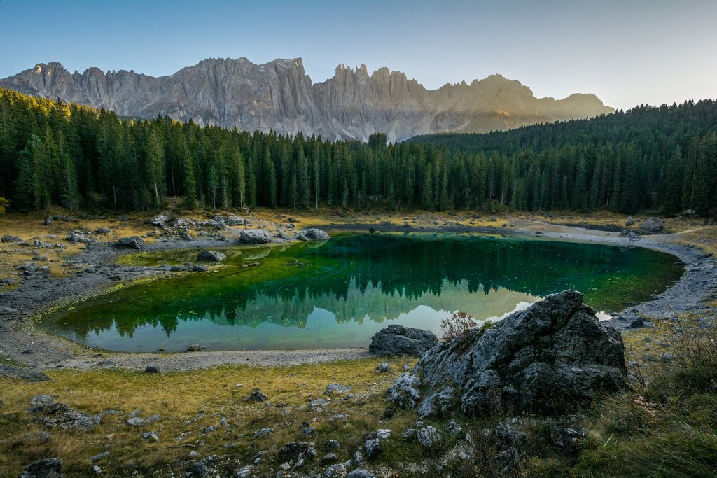 Lake Carezza in the Dolomites