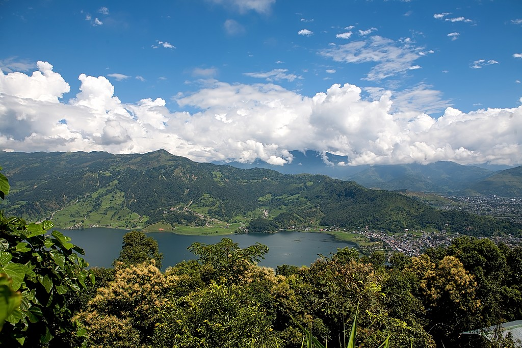 The city of Pokhara along Phewa Lake