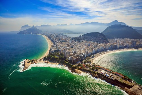 Aerial view of Copacabana and Ipanema beaches