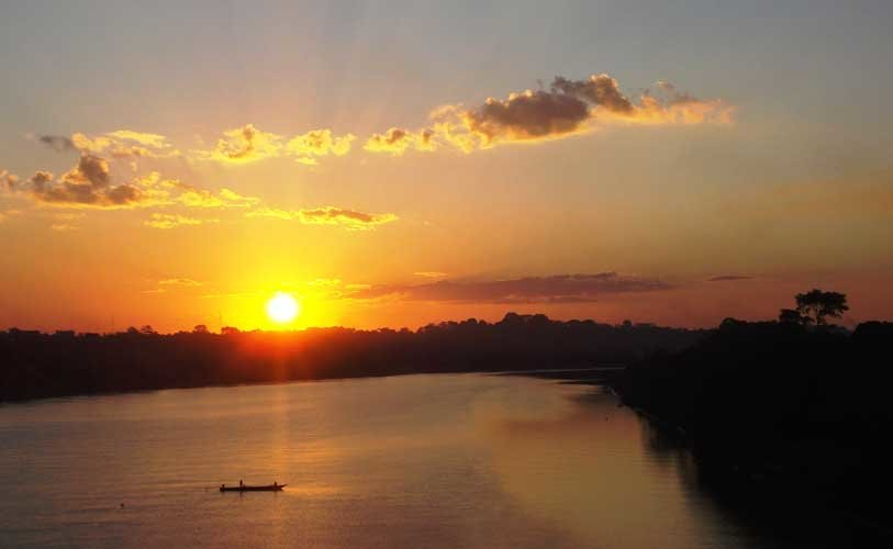 Tambopata Rio as the sun sets.